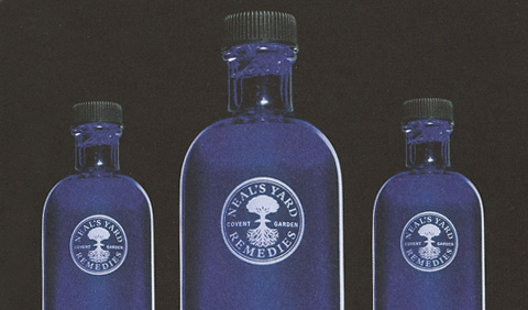 Neals Yard Blue Bottles